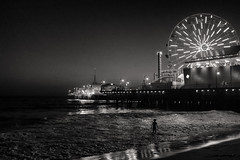 The Night Swimmer (BrianEden) Tags: ca night la pier water losangeles santamonica fujifilm x100s california man beach ocean streetphotography fuji sea silhouette waves dusk wading unitedstates us