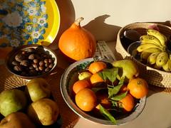 Fruit and nuts (seikinsou) Tags: brussels belgium bruxelles belgique winter pear mandarin pumpkin banana lemon tray nut