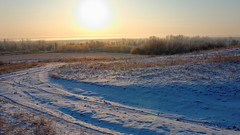 Sunrise over the floodplain Aksai. (Gudkov A) Tags: dawn silhouettes winter open aksay donregion novocherkassk mist morning fog d7000 nikon bendintheroad аксайскийрайон мишкинскиебугры