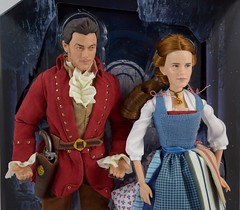 Film Collection Belle and Gaston Doll Set - Live Action Beauty and the Beast - Disney Store Purchase - Deboxing - On Backing - Midrange Front View (drj1828) Tags: us disneystore beautyandthebeast liveactionfilm 2017 belle gaston disneyfilmcollection 12inch posable dollset blue peasant dress deboxing
