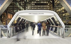 One Canada Square (neil rushby photography) Tags: london canary wharf hi key one canada square moving movement commuters commute londoners executives exposure vanishing point perspective walkway tunnel