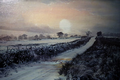 In The Bleak Mid-Winter (maureen bracewell) Tags: landscape snow winter lane texture countryside rural january maureenbracewell nature ice sunset drystonewall canon fields cold untouchabledream