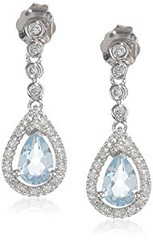 14k White Gold Aquamarine and Diamond Drop Earrings (goodies2get2) Tags: 200to500 amazoncom bestsellers diamond gold