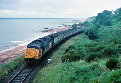 Meanwhile from my poor weather trip to Scotland a tractor hugs the coastline on the Far North line between Brora and Helmsdale... could almost be Dawlish...37416 Inverness-Wick/Thurso Port Gower 12-07-1988 (the.chair) Tags: 2h61 37416 invernesswick thurso port gower july 1988