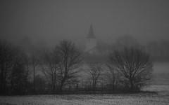The Future lies in the Dark (Netsrak (on/off)) Tags: nebel schnee mist fog snow church kirche landscape landschaft black white schwarzweiss bw blackwhite