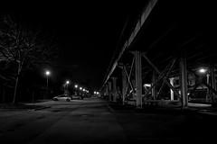 027/365: Under the El (dharder9475) Tags: 027365 2017 365project bw blackandwhite cars chicagotransitauthority cta dark el elevatedtrain handheld light lowlight night parkinglot privpublic tree