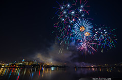 Peoria Fireworks (kevin-palmer) Tags: blue red summer white reflection water skyline lights evening illinois fireworks july fourthofjuly 4thofjuly independenceday barge peoria flooded illinoisriver redwhiteandboom eastpeoria kevinpalmer pentaxk5 samyang10mmf28