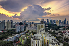 The Show Stopper (Mabmy) Tags: city architecture clouds sunrise buildings town singapore cityscape central olympus rays 12mm hdb hdr em1 manualblending mzuiko