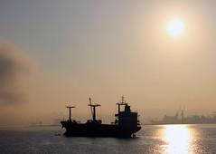 Morning fog (hacky_Am) Tags: turkey meer nebel trkiye trkei sis schatten deniz gemi frachter