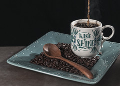 Rise & Shine! (lclower19) Tags: 0152 522017 odc simple pleasure letters words text coffee beans wood spoon story sb600 atsh first