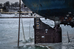 Winter's Grip (Jacqui1224) Tags: bow freighter ice lines numbers port water
