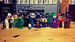Kickin' It Old School. (LordAllo) Tags: lego dc batman 2006 2008 villains twoface poison ivy riddler catwoman mr freeze penguin bane killer croc joker harley quinn scarecrow henchmen