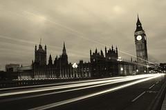 Westminister (updownmo) Tags: road uk longexposure light england sky blackandwhite london monochrome vintage bigben tourist westminister lightmovement