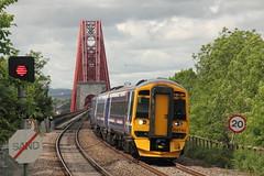 158740 Dalmeny, Scotland (Paul Emma) Tags: uk railroad bridge train scotland railway forthbridge westlothian forthrailbridge sprinter dalmeny class158 dieseltrain 158740 2g04