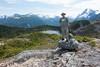 Paul atop the ridge above M Gurr Lake (Joyce Pinsker) Tags: mountains paul britishcolumbia centralcoast 2015 highway20 coastrange toppedout mgurrlake mgurrtrail nearbellacoola