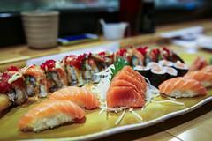 Salmon Sashimi, Nigiri, and Maki - Ogawa (sheryip) Tags: food sushi japanese restaurant yum maki salmon delicious foodporn nigiri morgantown ogawa
