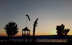 Ohrid Sunset in Summer (nazmije.d) Tags: blue trees sunset summer sky orange plants sun mountains tree beautiful palms landscape outdoor ohrid romantic leto 2015 pejsaz ohridlake ohridskoezero