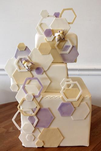 Off-Set Honeycomb Honey Bee Wedding Cake