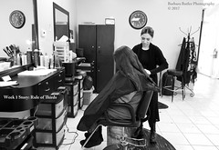 Rule of Thirds #3 (RedHatGal: Barbara Butler/FireCreek Photography) Tags: dogwood52 dogwood2017 dogwood52week1 blackwhite hairdresser stylist beautyshop longhair haircut ruleofthirds tellastory barbarabutlerphotography firecreekphotogrpahy redhatgal