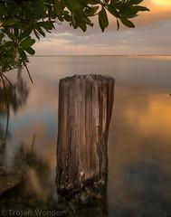 Boca  Grande Fishing Pier (Trojan Wonder) Tags: water smooth reflections rock groyne long exposure sunset clouds yellow blue leaves shells wood