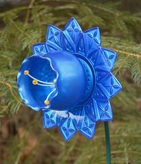 Blue Flower (NiftyBitsGallery) Tags: blueflower petals vintagedecor homeandgarden gardendecoration bloom mini art plantstake garden botanical outdoorgarden homedecor repurposed recycledart