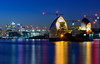 Thames Barrier - Evening Blue Hour (Aleem Yousaf) Tags: thames barrier evening blue hour london flood protection silvertown long exposure reflections lights canary wharf emirates river crossing architecture path water