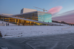 Operahuset (morten f) Tags: oslo norway norge ice is fjord oslofjorden sea ocean water winter vinter 2017 frozen opera harbor harbour sunset solnedgang sky people crane snow snø folk kran heisekran architecture