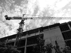 build your tower, high high above the ground (A'Agung) Tags: outdoor construction crane building architecture sky bnw fujix30
