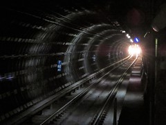 light at the end of the tunnel (kenjet) Tags: bart train station montgomery montgomerystreetstation bartstation underground light track tracks rail railway lightattheendofthetunnel tunnel approaching 7 60 mi trainstation