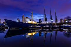Lord Amory - Docklands Scout Project (Aleem Yousaf) Tags: london docklands lord amory boat old docks scout project west india dock morning blue hour clouds sky reflections wideangle 1835mm long exposure wandsworth len williams ice