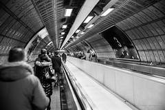 Underground - London (Bouhsina Photography) Tags: street londres tube metro angleterre bouhsina bouhsinaphotography black white monochrome noir blanc noirblanc bw canon 5diii ef2470 perspective