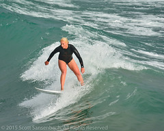 Blonde in Black (ScottS101) Tags: ocean california woman man male guy girl muscles female pier sand surf all pacific surfer wave dude rights surfboard  reserved huntingtonbeach allrightsreservedpier 2015scottsansenbach
