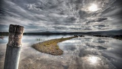 The island! (OleBruunPhotography) Tags: sun nature water norway clouds reflections landscape nikon horizon hdr pola femunden