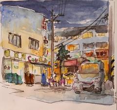 Convenience Store at night_Incheon // 편의점 인천 (velt.mathieu) Tags: night sketch korea croquis 한국 urbansketching