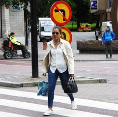 Woman pedestrian (bokage) Tags: street woman traffic sweden stockholm pedestrian bokage