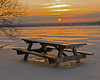 soltice sunrise (jimbobphoto) Tags: sunrise sky presqueisle presqueislebay pennsylvania statepark picnic ice snow cold erie table gold