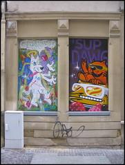 Graffiti in Luxembourg City (Wagsy Wheeler) Tags: luxembourg luxembourgcity graffiti street streetscene streetart art paint spray spraypainting spraypaint cat supdawg roudepetz