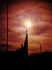 God's eye (Darek Drapala) Tags: god gold church chapel dark sun sunrise sunshine sunbeams sunlight clouds red color panasonic poland polska panasonicg2 nature sky skyskape silhouette lumix light warsaw warszawa faith architecture