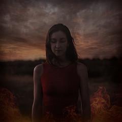 Releasing Remnants (Rebecca Rae Fine Art) Tags: girl fire burn powerlines field darkart fineartphotography conceptualphotography portrait reddress red