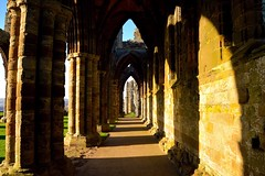 The North Aisle (rustyruth1959) Tags: nikon nikond3200mm tamron16300mm yorkshire whitby whitbyabbey abbey building architecture structure ruin arch column aisle crossing nave choir presbytery sanctuary eastend wall sunlight shadows west westend east sun grass 13thcentury monastery stonework