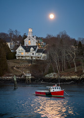Rockport Moon (BenjaminMWilliamson) Tags: art church coast gifts home house image lobsterboat me maine newengland photo prints red rockportmaine scenery scenic winter harbor moon