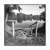 (Oeil de chat) Tags: nb bw monochrome film argentique bronica s2 ilford fp4 lac étang eau ponton bois ombre nature 120 moyenformat square carré