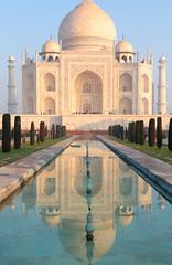 Classic Taj (peterkelly) Tags: digital canon 6d india asia tajmahal agra mausoleum marble blue sky reflection pool water minaret dome