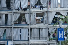hospital that way (diminoc) Tags: beirut lebanon flats apartments curtains blue white stripes dirty messy laundry building
