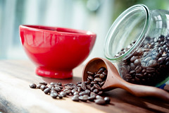 I can face anything.  After my morning coffee (MrPuffy) Tags: coffee beans morning wooden scoop red