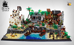 Free Vane and burn Nassau to the ground!!! (Mpyromaxos) Tags: black sails lego moc pirates brickstory 2017 captain flint red coats nassau fort town port square execution hangman palm trees spongebob patrick army cannons vane