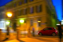 Novara Fiat Cinquecento (g.bardella) Tags: motion blur by night san italia fiat creative piazza 500 panning nuova cinquecento mosso rossa creativo novara effetto gaudenzio