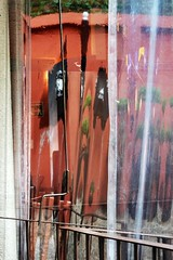 Through a Plastic Curtain Darkly (2) (Carl Campbell) Tags: restaurant distorted