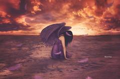 Fallen Angel (SnowiesArt) Tags: art broken girl angel dark wings purple feathers surreal fantasy fallen