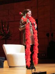 Tania de Jong with red rose & boa